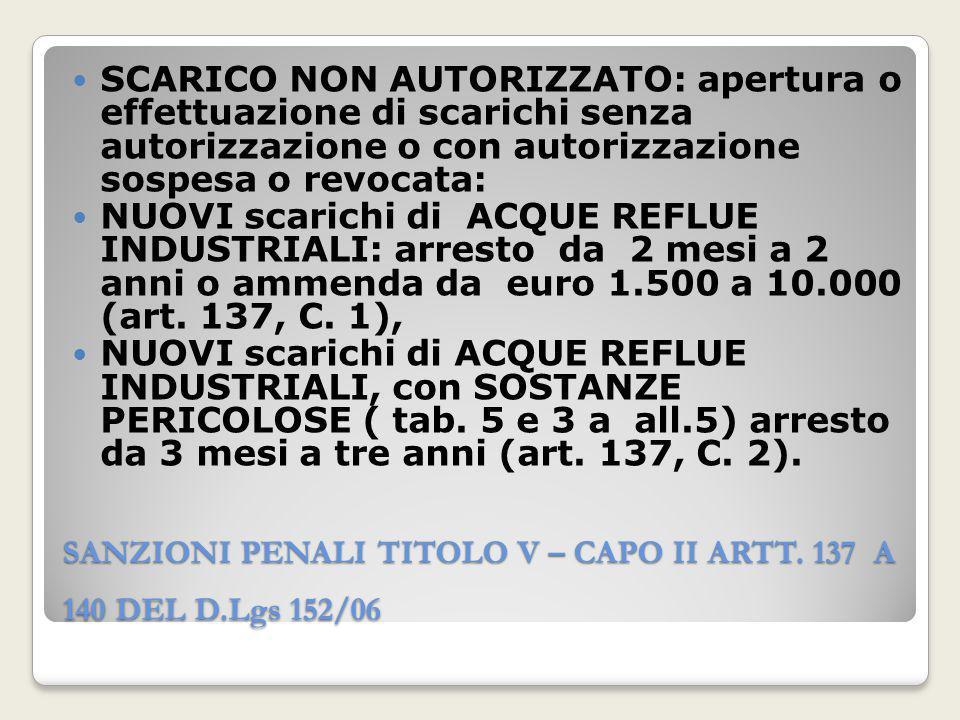 SANZIONI PENALI TITOLO V – CAPO II ARTT. 137 A 140 DEL D.Lgs 152/06 SCARICO NON AUTORIZZATO: apertura o effettuazione di scarichi senza autorizzazione