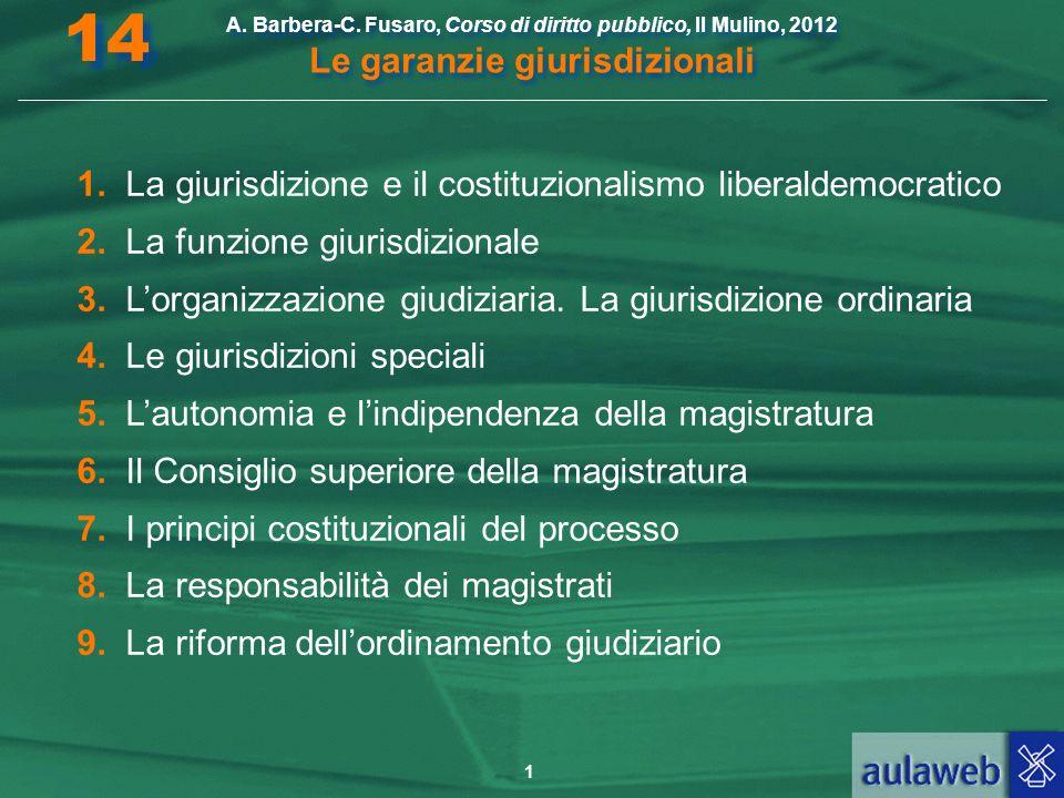1 A. Barbera-C. Fusaro, Corso di diritto pubblico, Il Mulino, 2012 Le garanzie giurisdizionali 14 1. La giurisdizione e il costituzionalismo liberalde