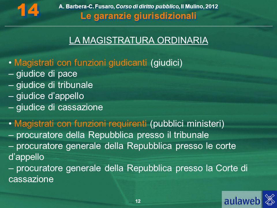 12 A. Barbera-C. Fusaro, Corso di diritto pubblico, Il Mulino, 2012 Le garanzie giurisdizionali 14 LA MAGISTRATURA ORDINARIA Magistrati con funzioni g