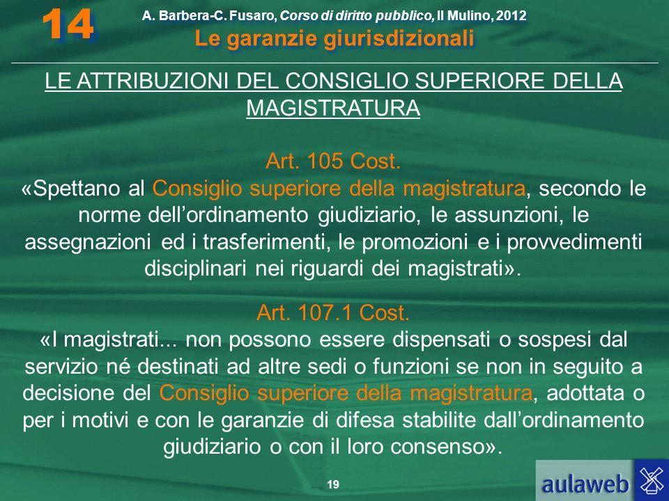 19 A. Barbera-C. Fusaro, Corso di diritto pubblico, Il Mulino, 2012 Le garanzie giurisdizionali 14 LE ATTRIBUZIONI DEL CONSIGLIO SUPERIORE DELLA MAGIS
