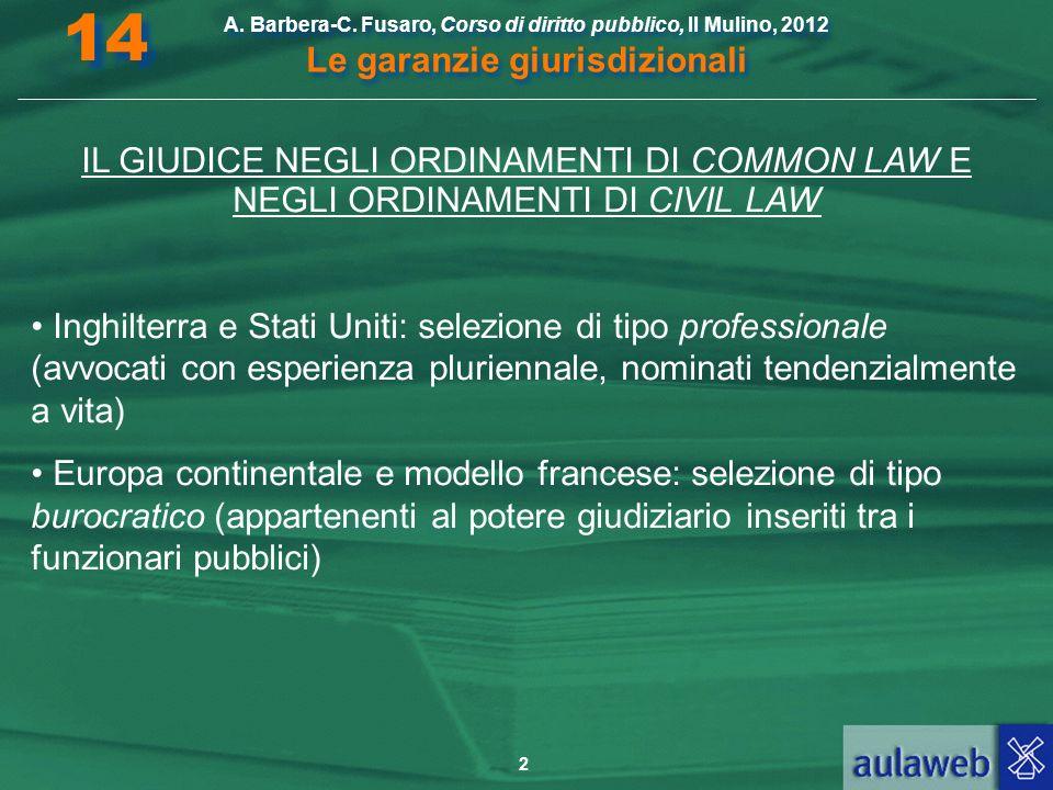 2 A. Barbera-C. Fusaro, Corso di diritto pubblico, Il Mulino, 2012 Le garanzie giurisdizionali 14 IL GIUDICE NEGLI ORDINAMENTI DI COMMON LAW E NEGLI O