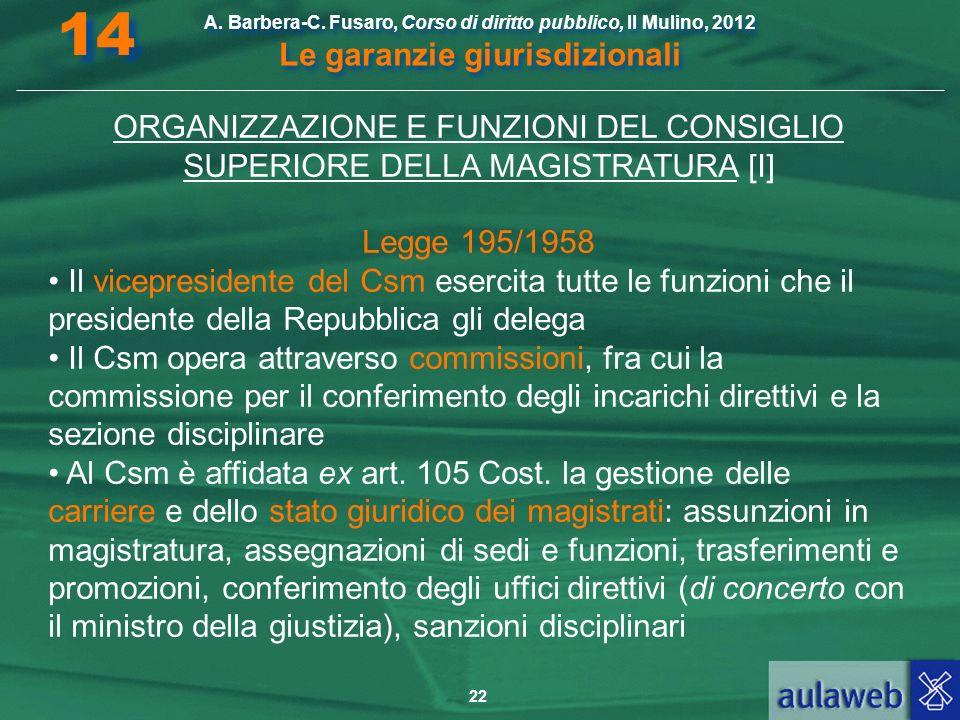 22 A. Barbera-C. Fusaro, Corso di diritto pubblico, Il Mulino, 2012 Le garanzie giurisdizionali 14 ORGANIZZAZIONE E FUNZIONI DEL CONSIGLIO SUPERIORE D