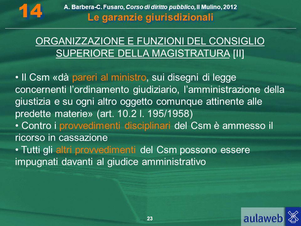 23 A. Barbera-C. Fusaro, Corso di diritto pubblico, Il Mulino, 2012 Le garanzie giurisdizionali 14 ORGANIZZAZIONE E FUNZIONI DEL CONSIGLIO SUPERIORE D