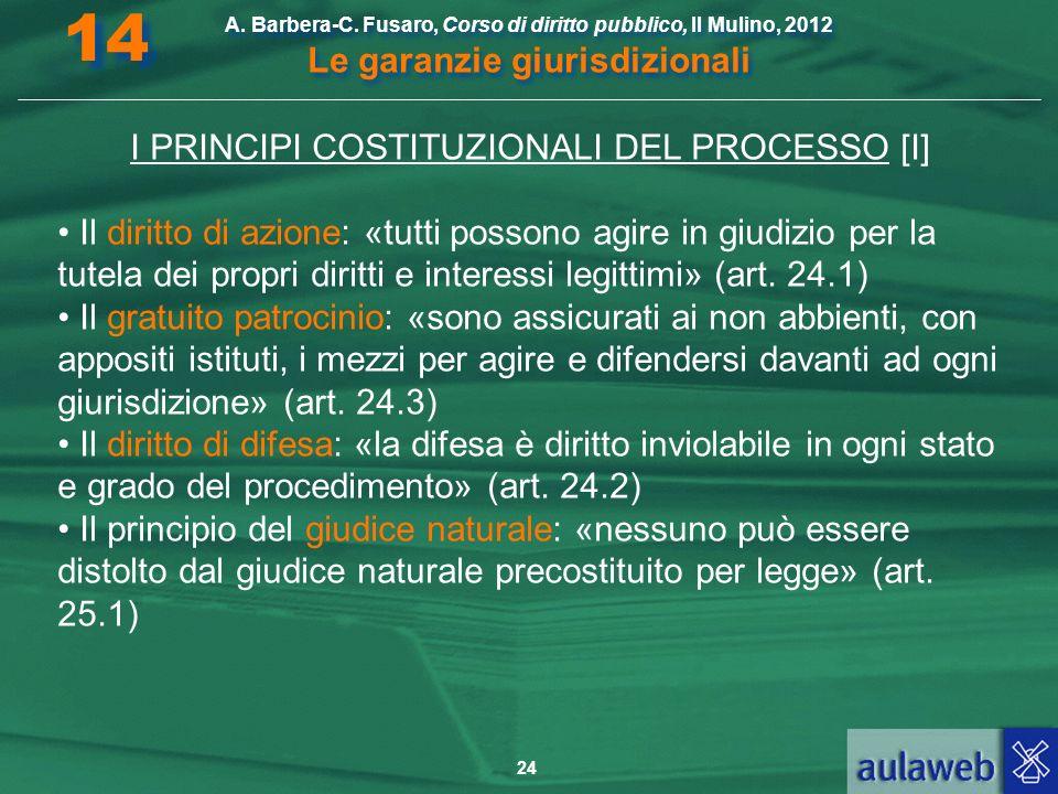 24 A. Barbera-C. Fusaro, Corso di diritto pubblico, Il Mulino, 2012 Le garanzie giurisdizionali 14 I PRINCIPI COSTITUZIONALI DEL PROCESSO [I] Il dirit