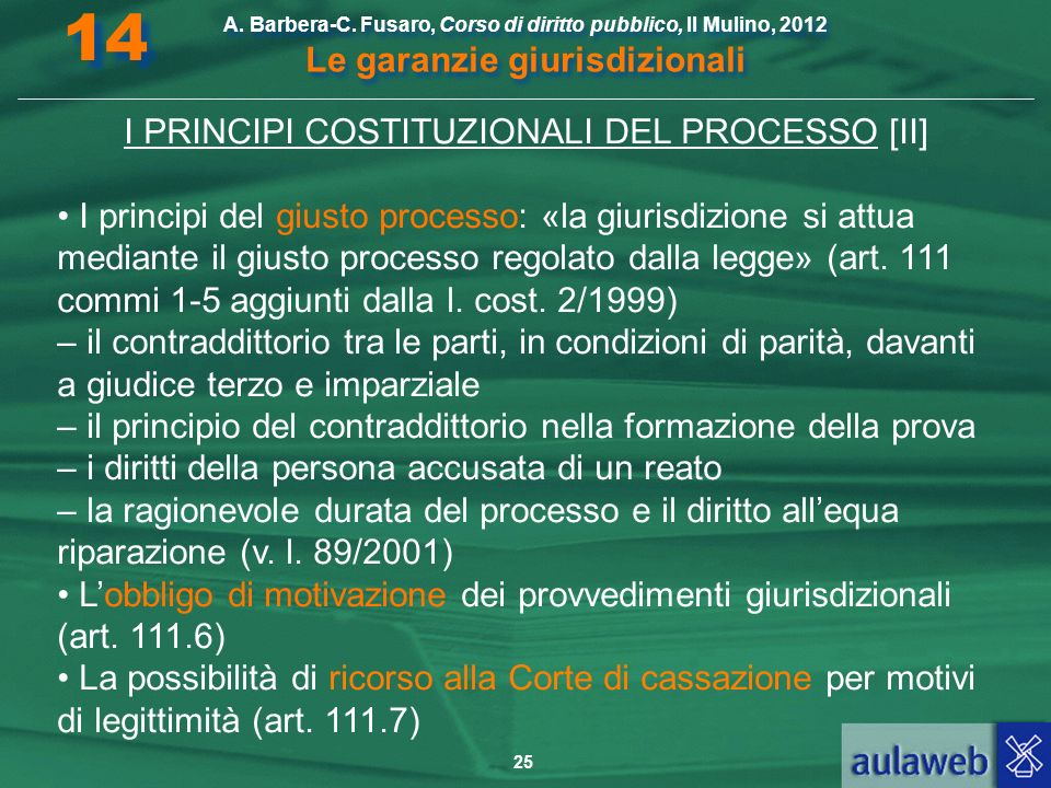 25 A. Barbera-C. Fusaro, Corso di diritto pubblico, Il Mulino, 2012 Le garanzie giurisdizionali 14 I PRINCIPI COSTITUZIONALI DEL PROCESSO [II] I princ