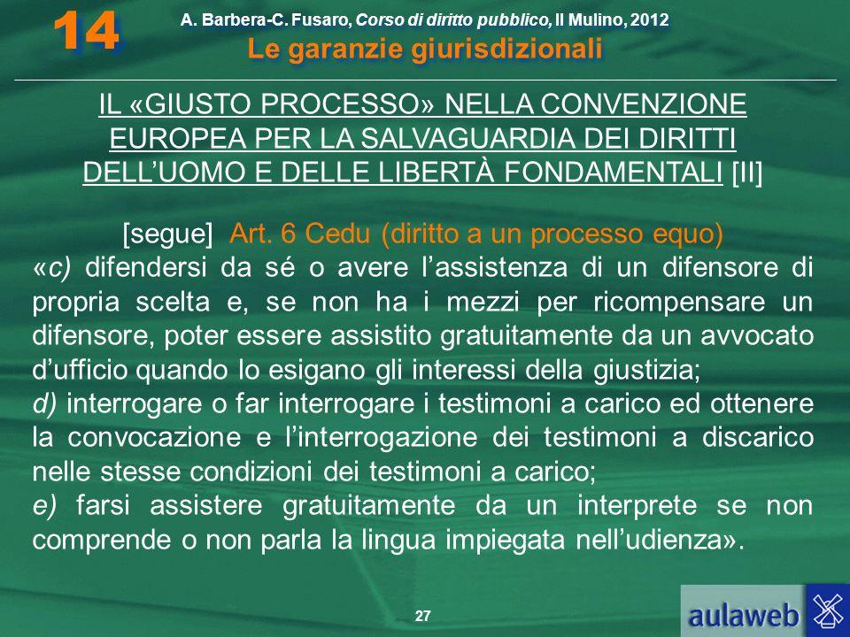 27 A. Barbera-C. Fusaro, Corso di diritto pubblico, Il Mulino, 2012 Le garanzie giurisdizionali 14 IL «GIUSTO PROCESSO» NELLA CONVENZIONE EUROPEA PER