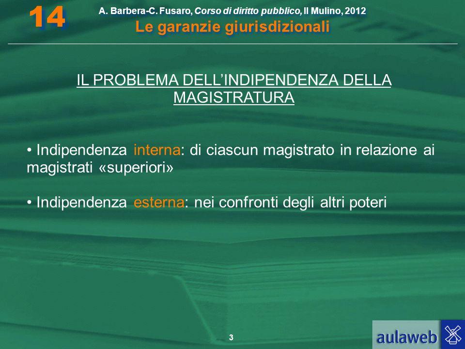 3 A. Barbera-C. Fusaro, Corso di diritto pubblico, Il Mulino, 2012 Le garanzie giurisdizionali 14 IL PROBLEMA DELLINDIPENDENZA DELLA MAGISTRATURA Indi