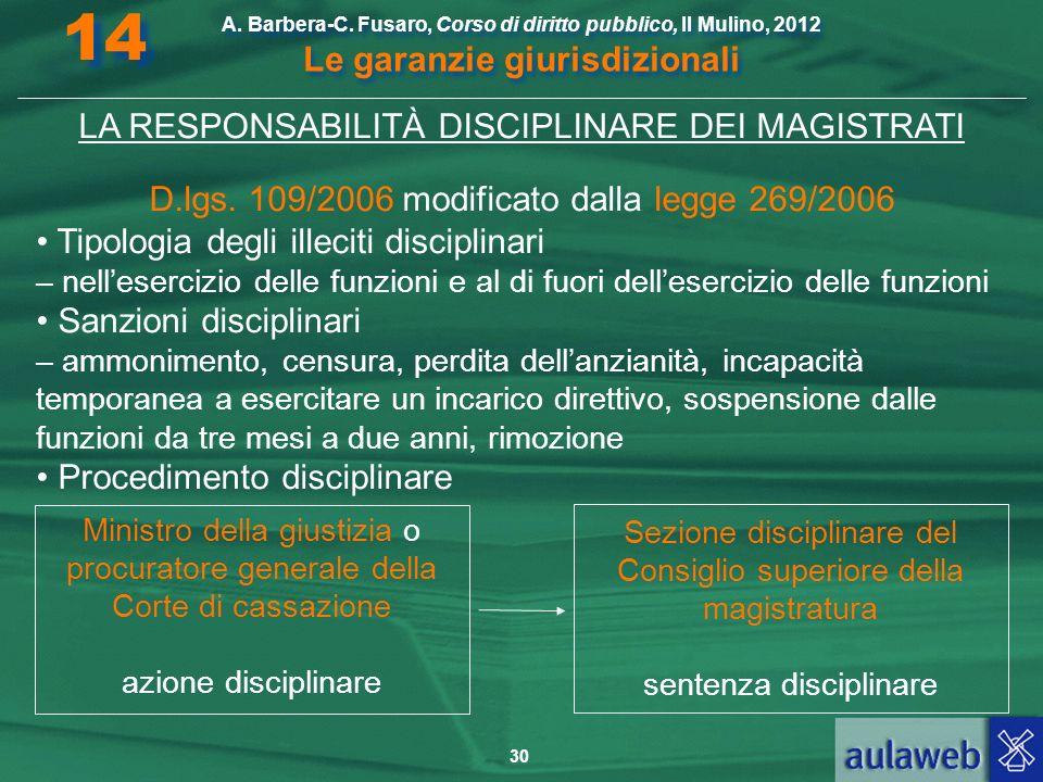 30 A. Barbera-C. Fusaro, Corso di diritto pubblico, Il Mulino, 2012 Le garanzie giurisdizionali 14 LA RESPONSABILITÀ DISCIPLINARE DEI MAGISTRATI D.lgs