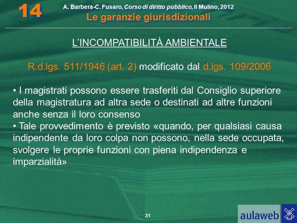 31 A. Barbera-C. Fusaro, Corso di diritto pubblico, Il Mulino, 2012 Le garanzie giurisdizionali 14 LINCOMPATIBILITÀ AMBIENTALE R.d.lgs. 511/1946 (art.