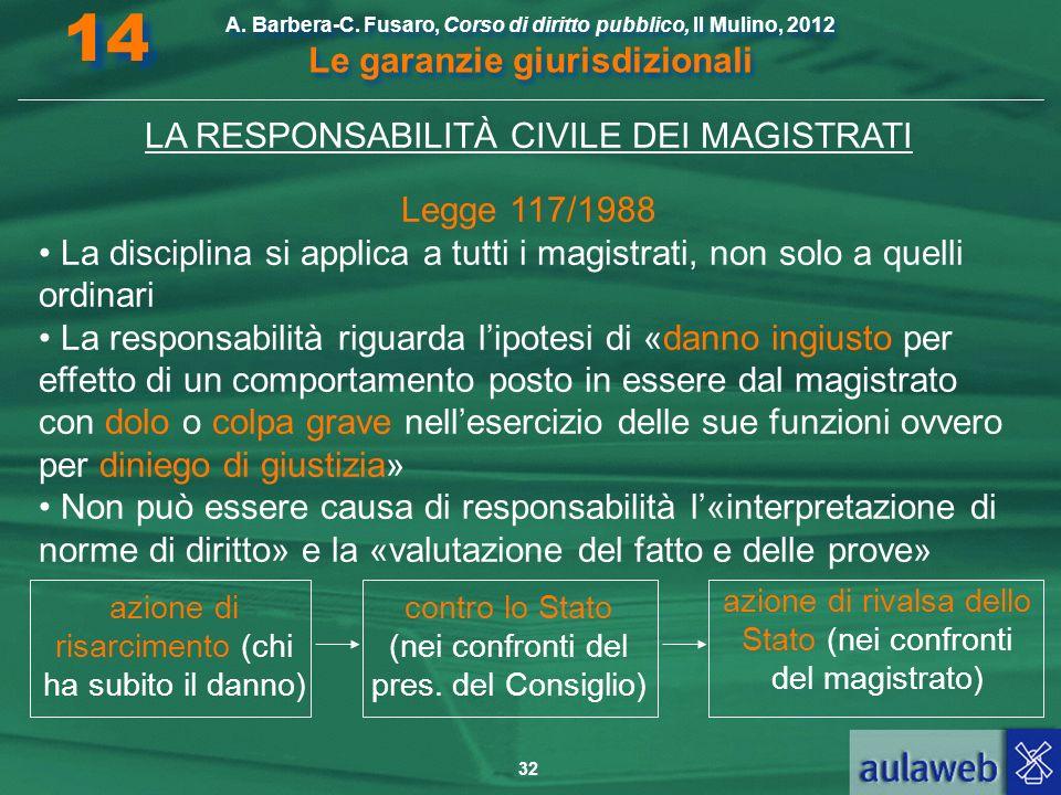 32 A. Barbera-C. Fusaro, Corso di diritto pubblico, Il Mulino, 2012 Le garanzie giurisdizionali 14 LA RESPONSABILITÀ CIVILE DEI MAGISTRATI Legge 117/1