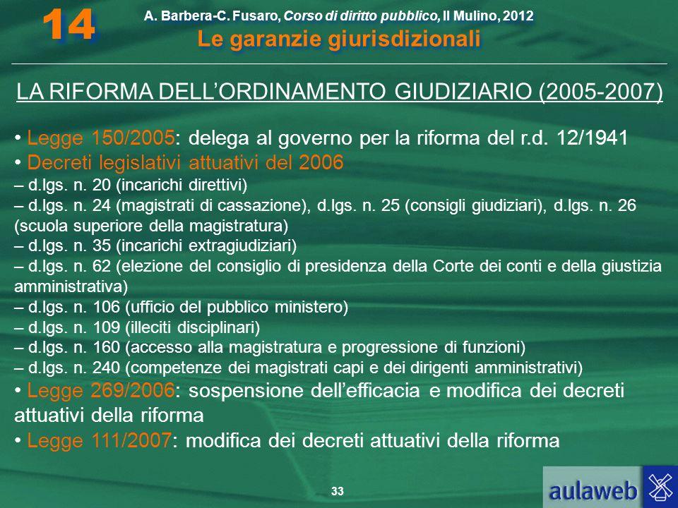 33 A. Barbera-C. Fusaro, Corso di diritto pubblico, Il Mulino, 2012 Le garanzie giurisdizionali 14 LA RIFORMA DELLORDINAMENTO GIUDIZIARIO (2005-2007)