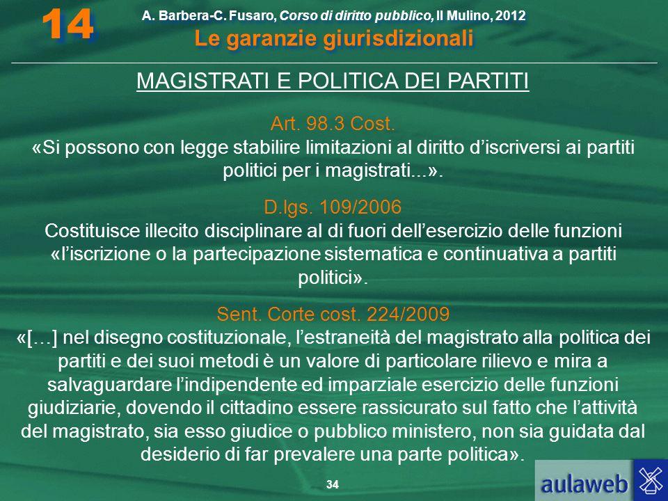 34 A. Barbera-C. Fusaro, Corso di diritto pubblico, Il Mulino, 2012 Le garanzie giurisdizionali 14 MAGISTRATI E POLITICA DEI PARTITI Art. 98.3 Cost. «