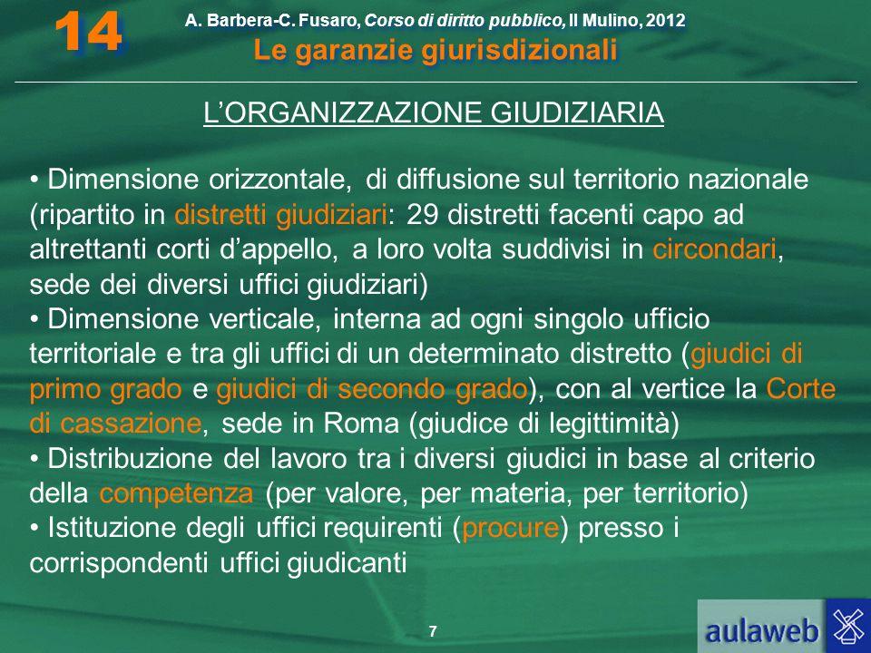 7 A. Barbera-C. Fusaro, Corso di diritto pubblico, Il Mulino, 2012 Le garanzie giurisdizionali 14 LORGANIZZAZIONE GIUDIZIARIA Dimensione orizzontale,
