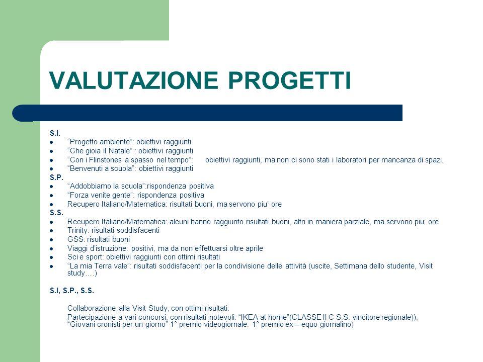 VALUTAZIONE PROGETTI S.I.