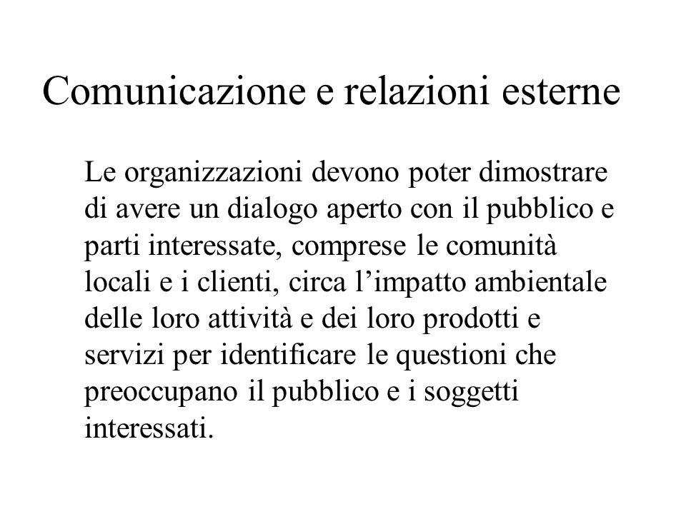 Comunicazione e relazioni esterne Le organizzazioni devono poter dimostrare di avere un dialogo aperto con il pubblico e parti interessate, comprese l