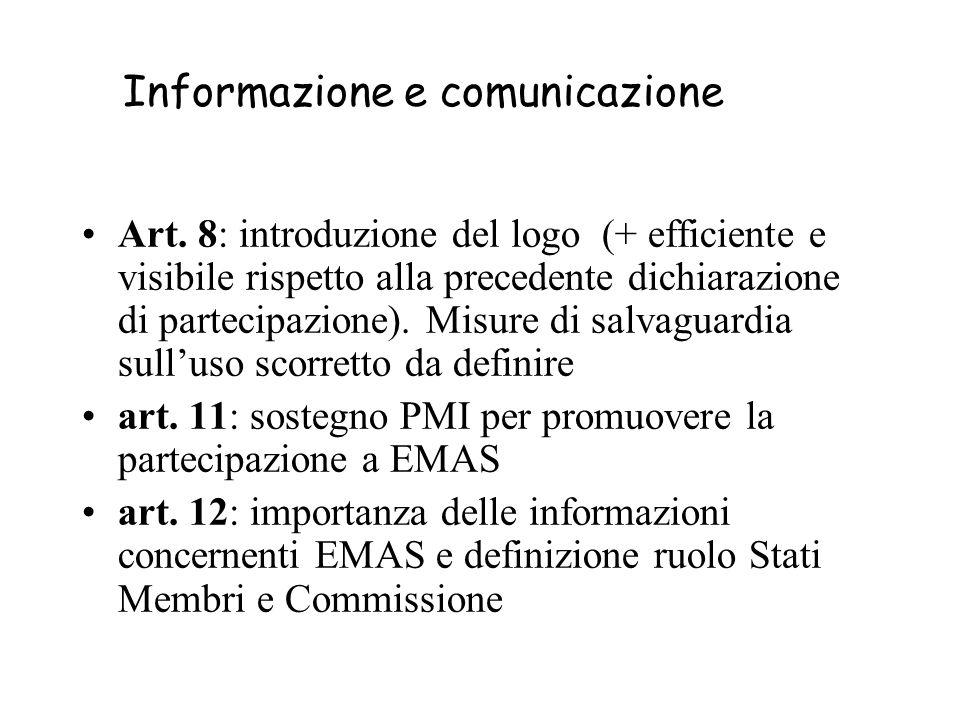 Informazione e comunicazione Art. 8: introduzione del logo (+ efficiente e visibile rispetto alla precedente dichiarazione di partecipazione). Misure