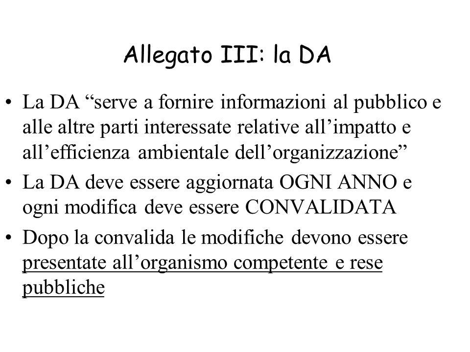 Allegato III: la DA La DA serve a fornire informazioni al pubblico e alle altre parti interessate relative allimpatto e allefficienza ambientale dello