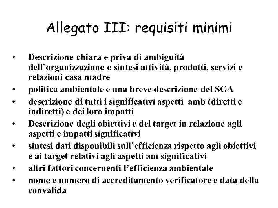 Allegato III: requisiti minimi Descrizione chiara e priva di ambiguità dellorganizzazione e sintesi attività, prodotti, servizi e relazioni casa madre