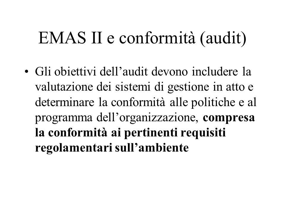 EMAS II e conformità (audit) Gli obiettivi dellaudit devono includere la valutazione dei sistemi di gestione in atto e determinare la conformità alle