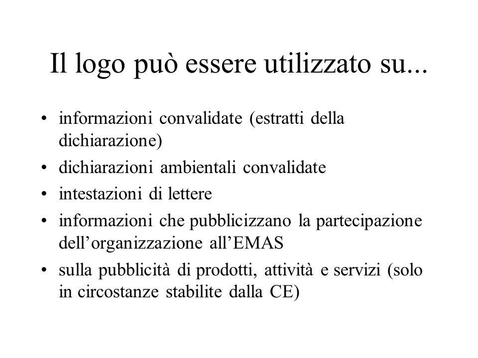 Il logo può essere utilizzato su... informazioni convalidate (estratti della dichiarazione) dichiarazioni ambientali convalidate intestazioni di lette