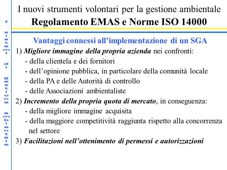 I nuovi strumenti volontari per la gestione ambientale Regolamento EMAS e Norme ISO 14000 Vantaggi connessi allimplementazione di un SGA 1) Migliore i