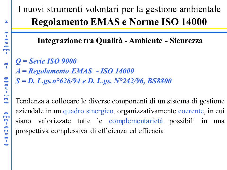 I nuovi strumenti volontari per la gestione ambientale Regolamento EMAS e Norme ISO 14000 Integrazione tra Qualità - Ambiente - Sicurezza Q = Serie IS