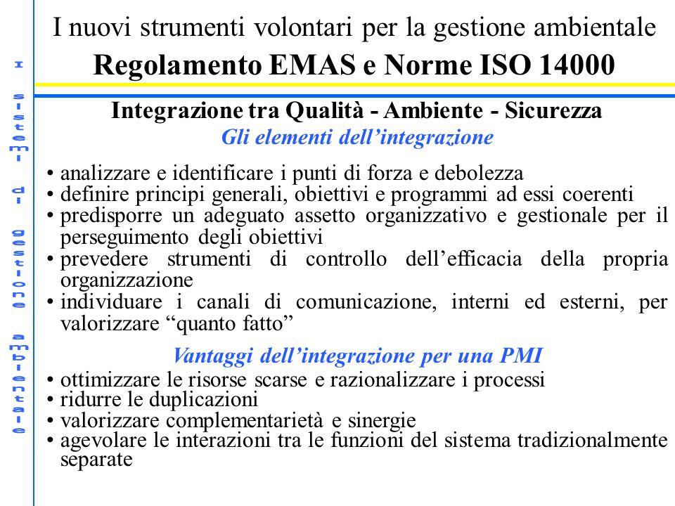 I nuovi strumenti volontari per la gestione ambientale Regolamento EMAS e Norme ISO 14000 Integrazione tra Qualità - Ambiente - Sicurezza Gli elementi