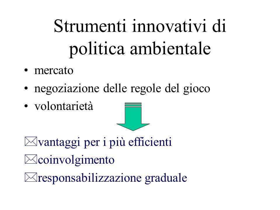 Strumenti innovativi di politica ambientale mercato negoziazione delle regole del gioco volontarietà *vantaggi per i più efficienti *coinvolgimento *r