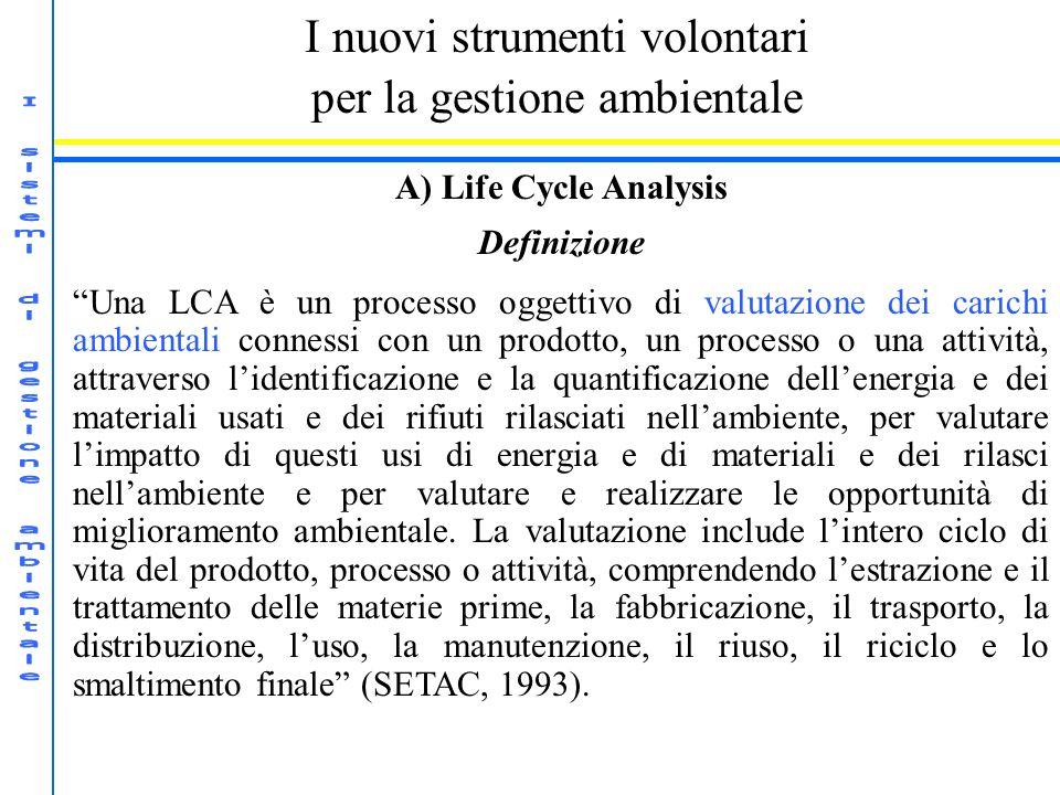 I nuovi strumenti volontari per la gestione ambientale A) Life Cycle Analysis Definizione Una LCA è un processo oggettivo di valutazione dei carichi a