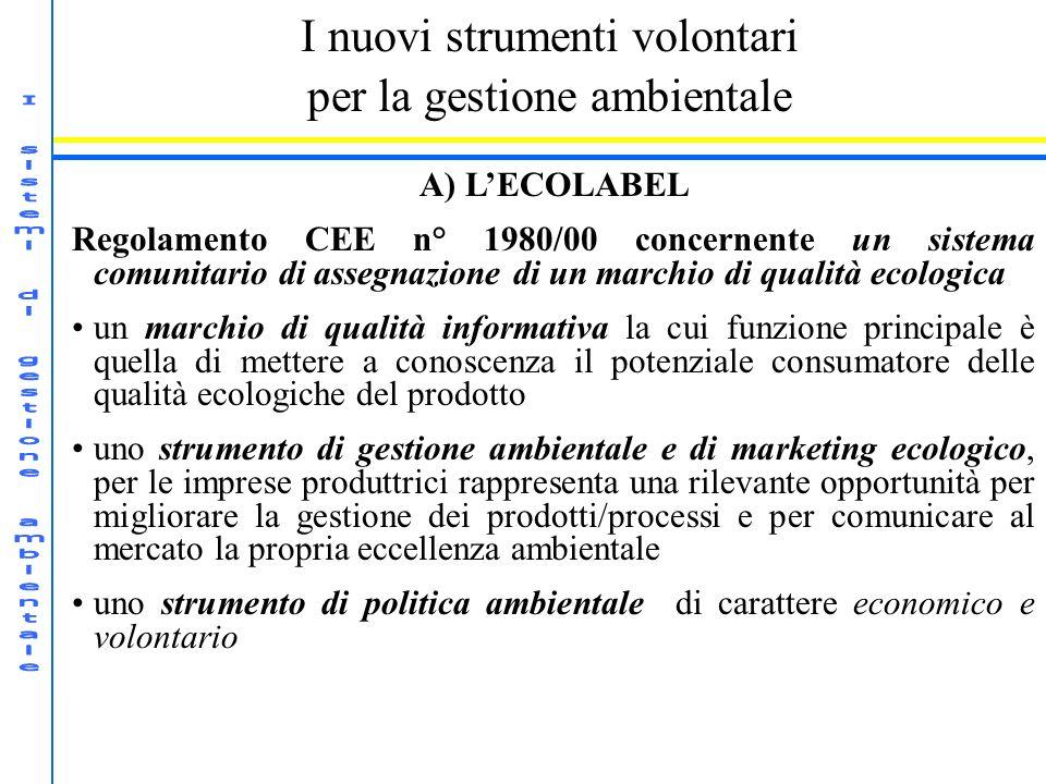 I nuovi strumenti volontari per la gestione ambientale A) LECOLABEL Regolamento CEE n° 1980/00 concernente un sistema comunitario di assegnazione di u