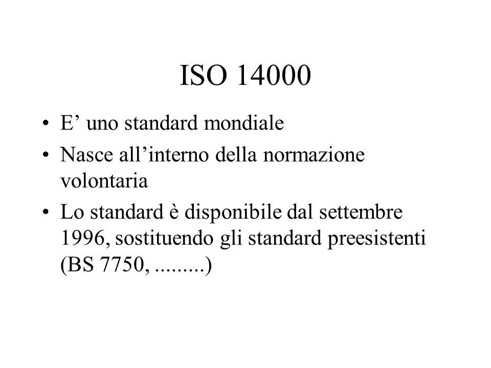 ISO 14000 E uno standard mondiale Nasce allinterno della normazione volontaria Lo standard è disponibile dal settembre 1996, sostituendo gli standard