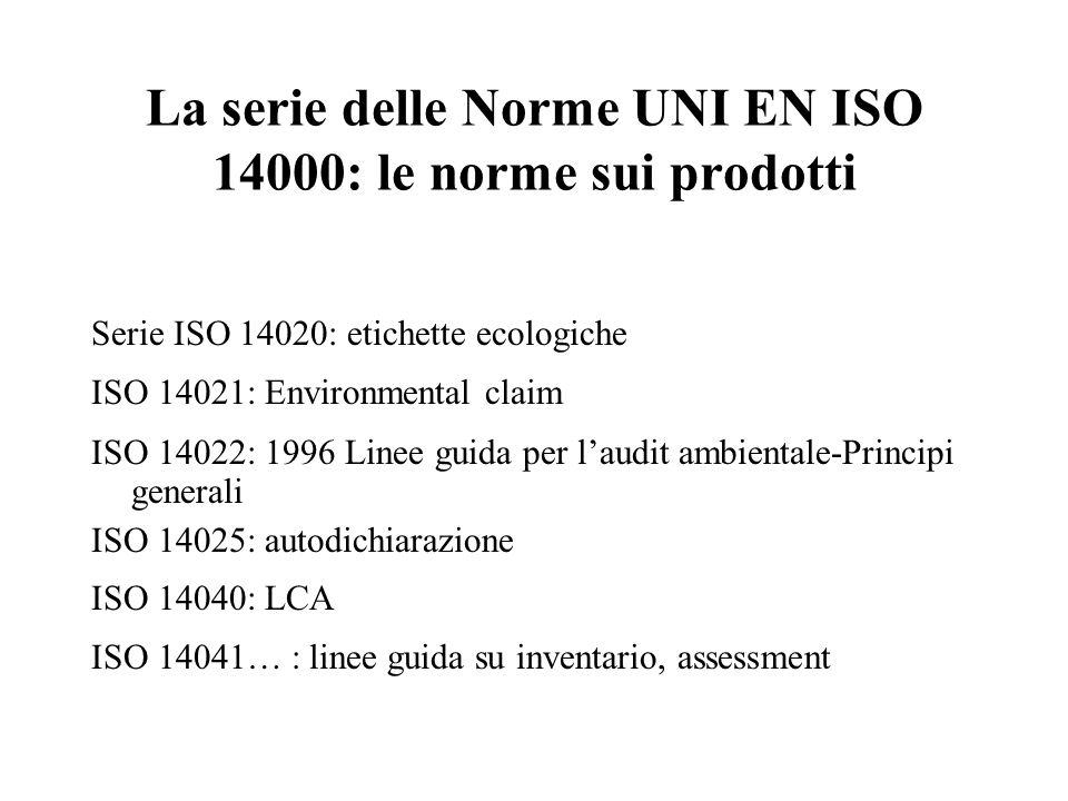 La serie delle Norme UNI EN ISO 14000: le norme sui prodotti Serie ISO 14020: etichette ecologiche ISO 14021: Environmental claim ISO 14022: 1996 Line