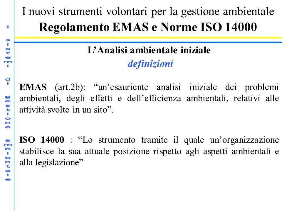 I nuovi strumenti volontari per la gestione ambientale Regolamento EMAS e Norme ISO 14000 LAnalisi ambientale iniziale definizioni EMAS (art.2b): unes