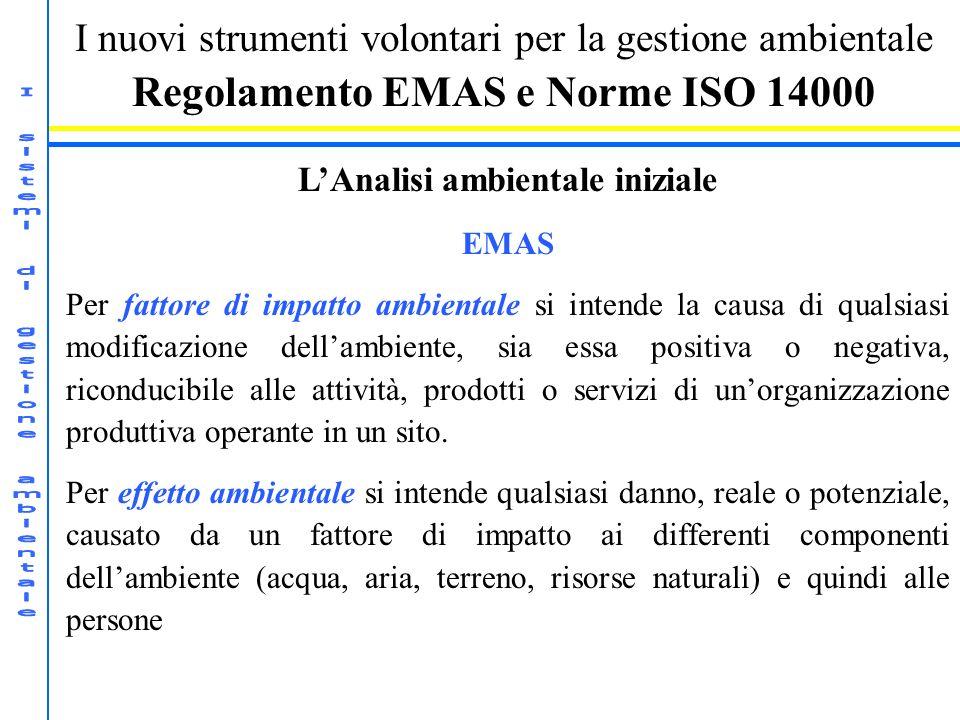 I nuovi strumenti volontari per la gestione ambientale Regolamento EMAS e Norme ISO 14000 LAnalisi ambientale iniziale EMAS Per fattore di impatto amb