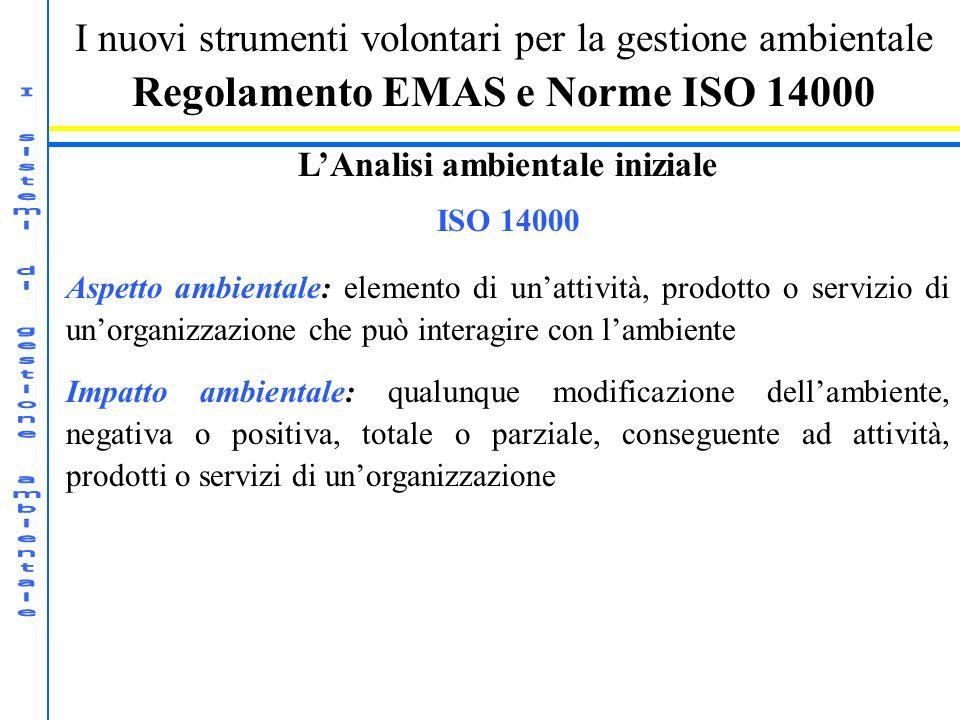 I nuovi strumenti volontari per la gestione ambientale Regolamento EMAS e Norme ISO 14000 LAnalisi ambientale iniziale ISO 14000 Aspetto ambientale: e