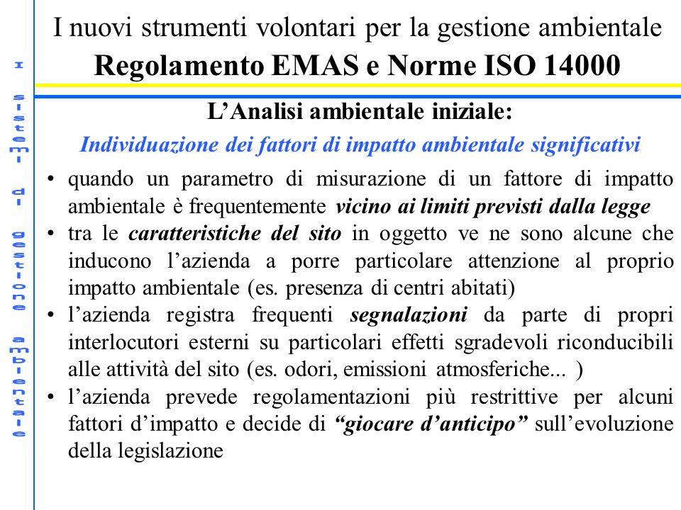 I nuovi strumenti volontari per la gestione ambientale Regolamento EMAS e Norme ISO 14000 LAnalisi ambientale iniziale: Individuazione dei fattori di