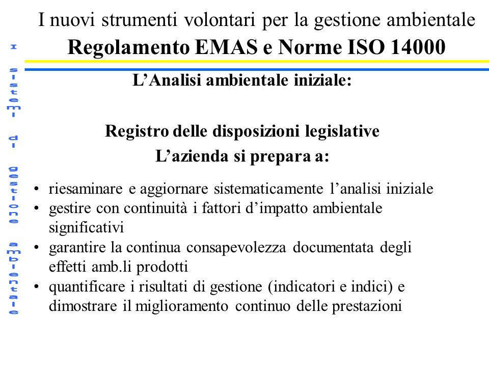 I nuovi strumenti volontari per la gestione ambientale Regolamento EMAS e Norme ISO 14000 LAnalisi ambientale iniziale: Registro delle disposizioni le