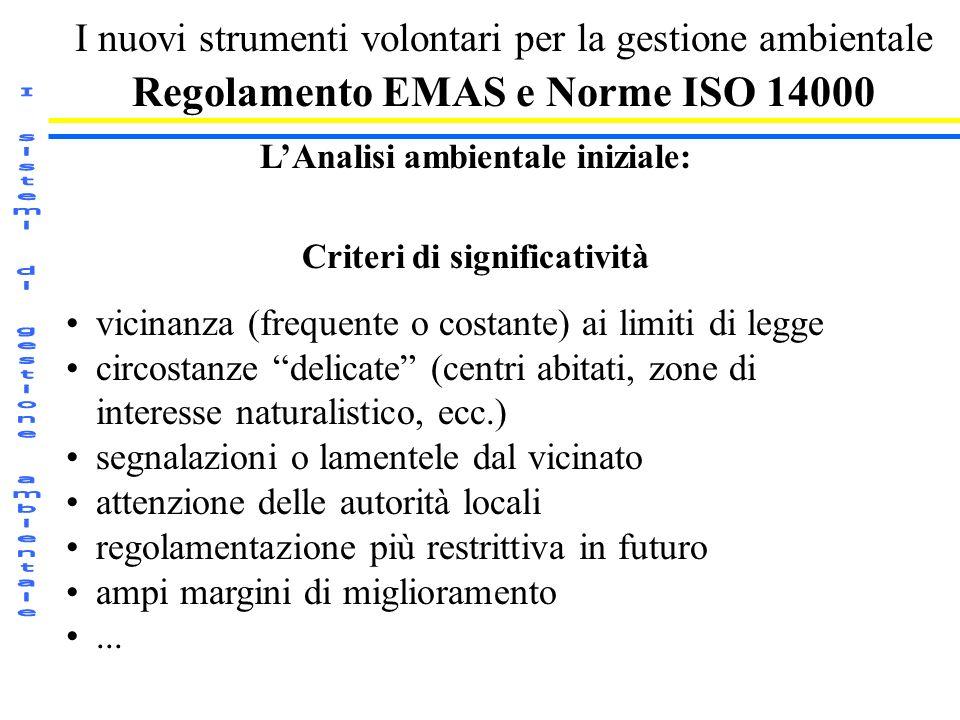 I nuovi strumenti volontari per la gestione ambientale Regolamento EMAS e Norme ISO 14000 LAnalisi ambientale iniziale: Criteri di significatività vic