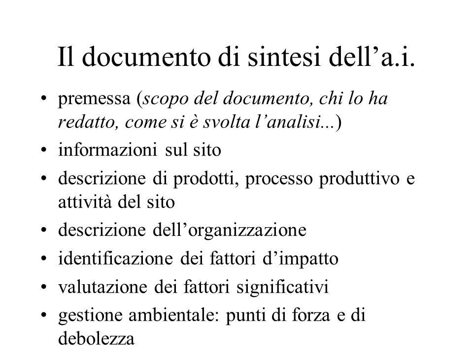 Il documento di sintesi della.i. premessa (scopo del documento, chi lo ha redatto, come si è svolta lanalisi...) informazioni sul sito descrizione di