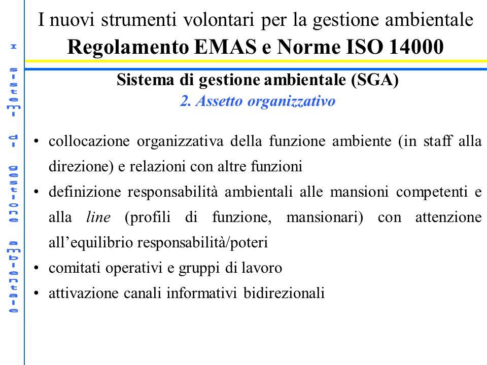I nuovi strumenti volontari per la gestione ambientale Regolamento EMAS e Norme ISO 14000 Sistema di gestione ambientale (SGA) 2. Assetto organizzativ