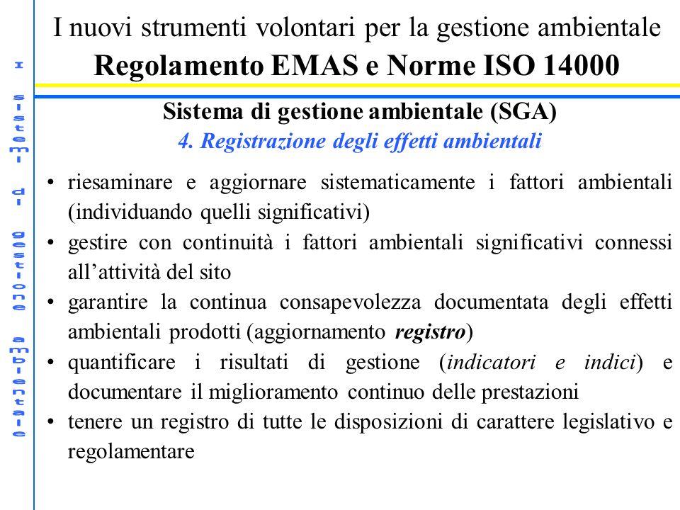 I nuovi strumenti volontari per la gestione ambientale Regolamento EMAS e Norme ISO 14000 Sistema di gestione ambientale (SGA) 4. Registrazione degli