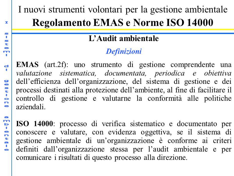 I nuovi strumenti volontari per la gestione ambientale Regolamento EMAS e Norme ISO 14000 LAudit ambientale Definizioni EMAS (art.2f): uno strumento d