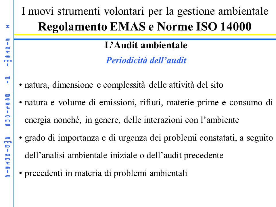 I nuovi strumenti volontari per la gestione ambientale Regolamento EMAS e Norme ISO 14000 LAudit ambientale Periodicità dellaudit natura, dimensione e