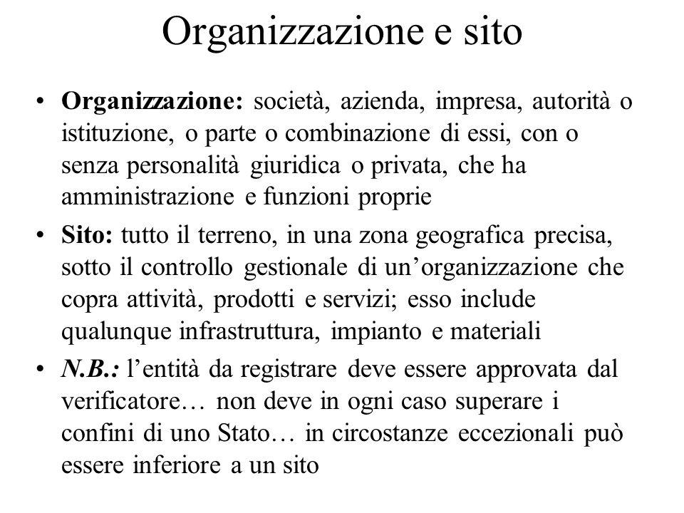 Organizzazione e sito Organizzazione: società, azienda, impresa, autorità o istituzione, o parte o combinazione di essi, con o senza personalità giuri