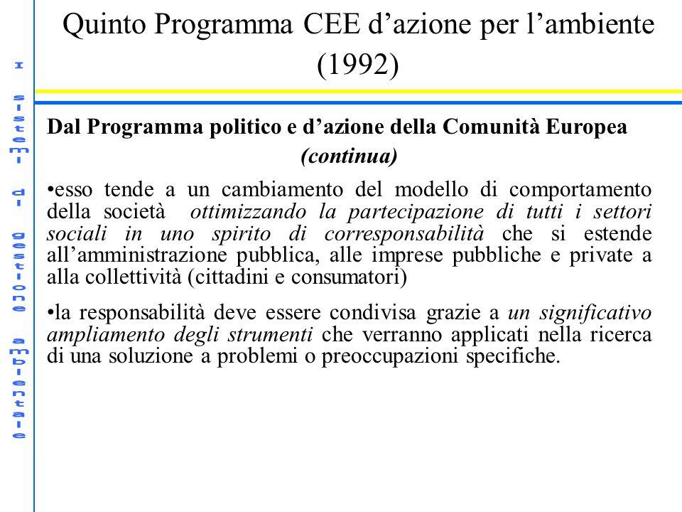 Quinto Programma CEE dazione per lambiente (1992) Dal Programma politico e dazione della Comunità Europea (continua) esso tende a un cambiamento del m
