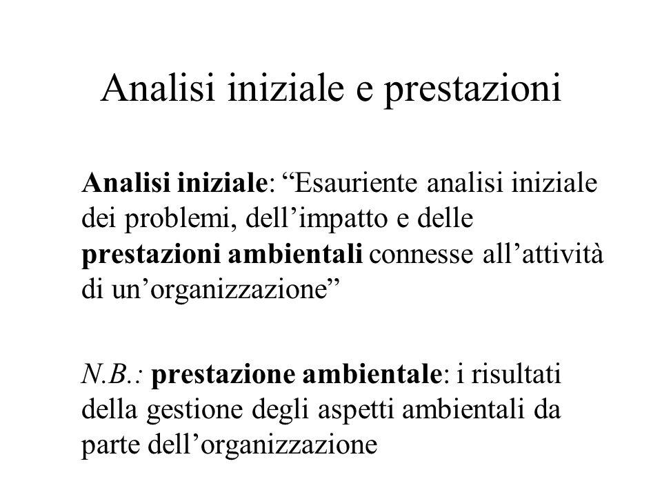 Analisi iniziale e prestazioni Analisi iniziale: Esauriente analisi iniziale dei problemi, dellimpatto e delle prestazioni ambientali connesse allatti