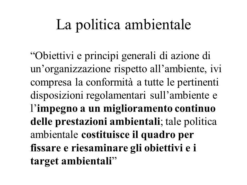 La politica ambientale Obiettivi e principi generali di azione di unorganizzazione rispetto allambiente, ivi compresa la conformità a tutte le pertine