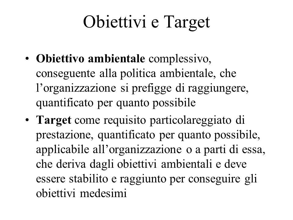 Obiettivi e Target Obiettivo ambientale complessivo, conseguente alla politica ambientale, che lorganizzazione si prefigge di raggiungere, quantificat