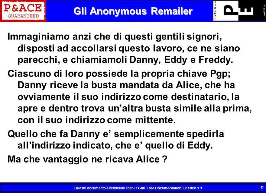 Questo documento è distribuito sotto la Gnu Free Documentation Licence 1.1 13 Gli Anonymous Remailer Immaginiamo anzi che di questi gentili signori, d