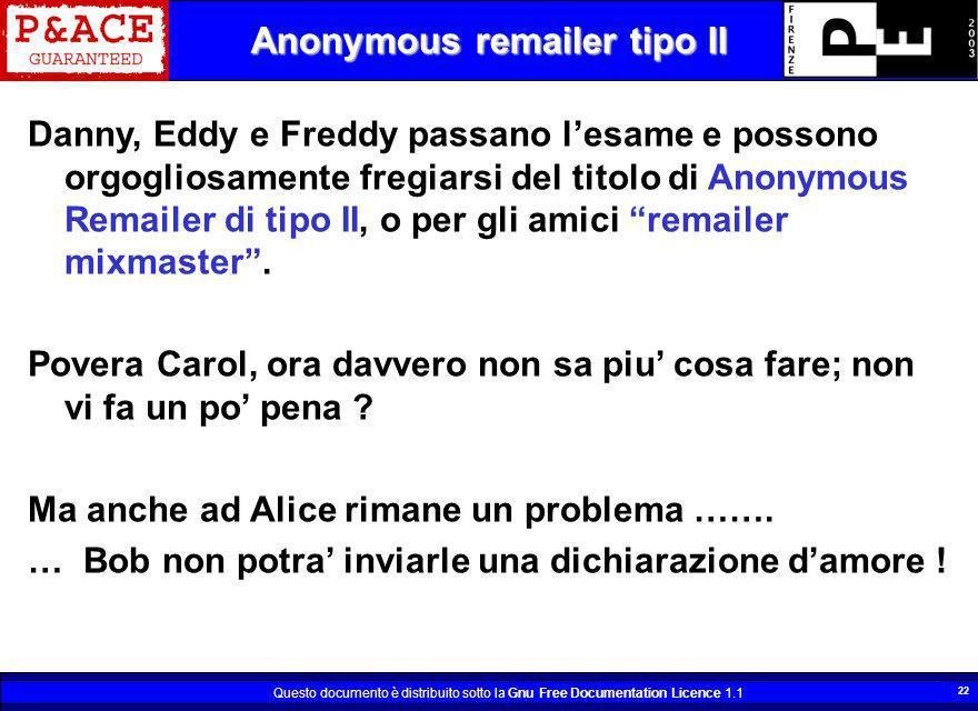 Questo documento è distribuito sotto la Gnu Free Documentation Licence 1.1 22 Anonymous remailer tipo II Danny, Eddy e Freddy passano lesame e possono